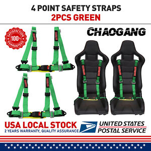 Takata 4 Point Snap on 3 With Camlock Racing Seat Belt Harness Green Us Ships
