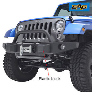 Eag Front Bumper With Winch Plate fog Light Hole Fits 07 18 Jeep Wrangler Jk