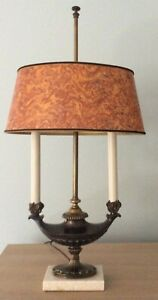 Vintage Bouillotte Aladdin Style Lamp With Brass Body And Marble Base Exc