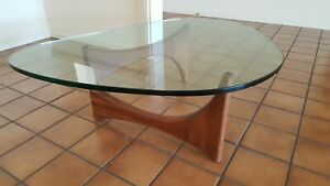 Vintage Adrian Pearsall Mid Century Modern Oiled Walnut Glass Top Coffee Table