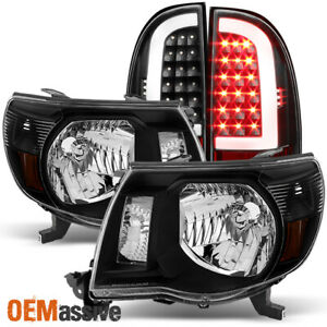 Fits 2005 2011 Toyota Tacoma Replacement Black Headlights Led Tube Tail Light