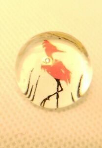 Studio Hand Made Clear Glass Button W Flamingo Paper Back Lg