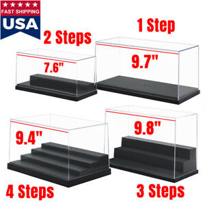 Us 1 2 3 4 Steps Acrylic Display Case Box Plastic Black Base Dustproof Figures