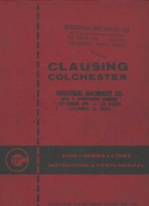 Clausing Colchester 8000 Series Lathes Instructions Parts Manual