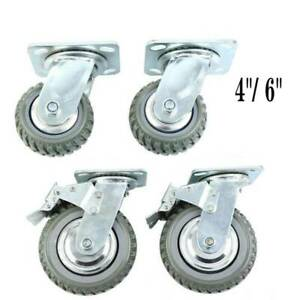 4 6 360 Heavy Duty Industrial Swivel Rubber Caster Wheels Polyurethane