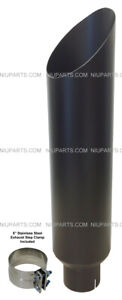8 Flat Black Stainless Miter Cut Exhaust Stack Smokers 5 Id Inlet 36 Long