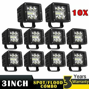 10x 3 inch Cree Led Work Light Spot Flood Combo Cube Pods Off road Driving Boat