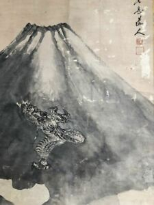 Japanese Painting Hanging Scroll Japan Mt Fuji Dragon Ink Old Antique Art E061