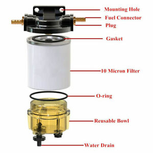 S3213 Marine Clear Bowl Fuel Filter Water Separator Kit Outboard Filters