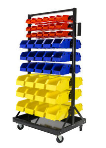 Erie Tools 90 Bin Parts Storage Rack Locking Wheels For Shop Garage Nut Bolt