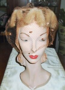 VINTAGE 1960s FAWN FUR HAT VEIL w/ FUZZY NUBS RUST SATIN BOW DAYNE ORIG As Is