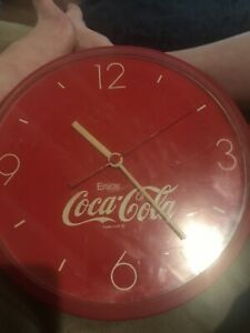 Vintage Coca Cola Wall Clock Collectible Round Red Coke Clock - Ships Free!