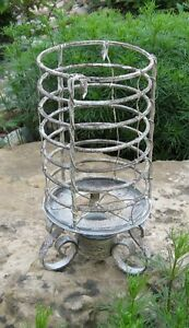 Galvanized Candle Holder Antique White Primitive French Country Farmhouse Decor