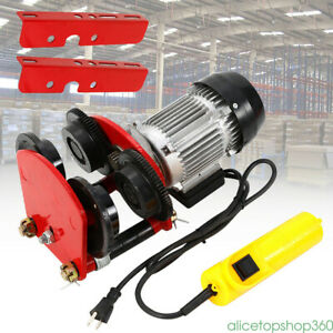 Wire Rope Cable 500w Electric Lift Hoist Pulley 4ft All copper Motor 1t Trolley