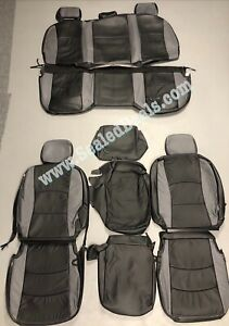 2013 17 Ram 1500 Katzkin Custom Black And Gray Leather Seat Replacement Covers
