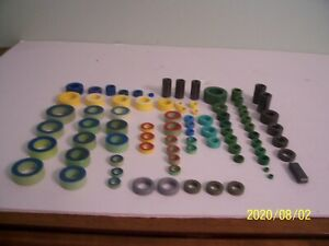 Lot Of 76 Toroidal Cores Green blue Green red Yellow white Yellow red Teal Gra
