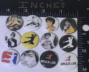 Bruce Lee 12 Pins One Inch Pin Legends Martial Arts Flying Kick Kung Fu Karate $9.99