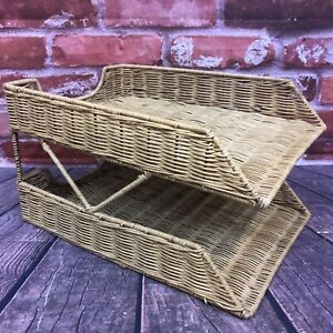 Boho Wicker Rattan 2 tier Desk Tray Paper Organizer In Out Box Office Supplies