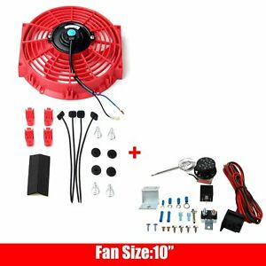 10 Electric Radiator Cooling Fan Red 80w 12v Thermostat Control Relay Kit