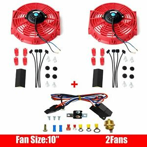 2pcs 10 Electric Radiator Cooling Fan Red 12v Thermostat Switch Relay Kit