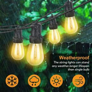 48ft Outdoor String Lights Waterproof Commercial Patio Globe Fairy Light Bulbs  $35.99