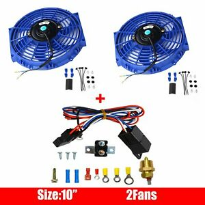 2x 10 Universal Electric Radiator Cooling Fan Blue Thermostat Relay Wire Kit