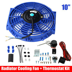 10 Electric Radiator Cooling Fan 12v Blue Thermostat Control Relay Wire Kit
