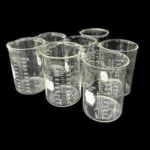 Mixed Lot Of 7x Kimax Pyrex 1003 kimax 14005 100ml Griffin Beakers Lab Glassware