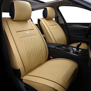 5 Seats Car Seat Covers Deluxe Leather Front Rear Cushion Full Set Universal Fit