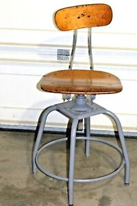 Vintage Restored Industrial Factory Stool Machine Age Drafting Adjustable Chair