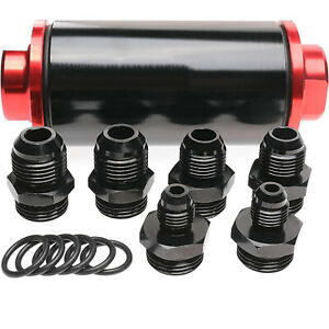 58mm 100 Micron Cleanble Inline Fuel Filter High Flow Turbo 6an 8an 10an Adapter