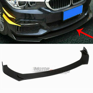 Gloss Black Universal Front Bumper Lip Chin Spoiler Splitter For Honda Bmw Audi