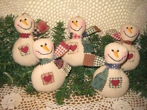 5 Snowmen Bowl Fillers Country Wreath Accents Primitive Christmas Tree Ornaments