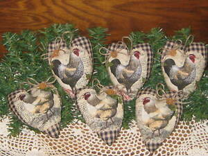 6 Rooster Chicken Hearts Wreath Accents Farmhouse Country Decor Bowl Fillers