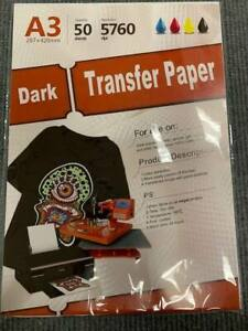 Inkjet Heat Transfer Iron On Paper Dark Color Fabric 12 X 17 A3 50 Sheets