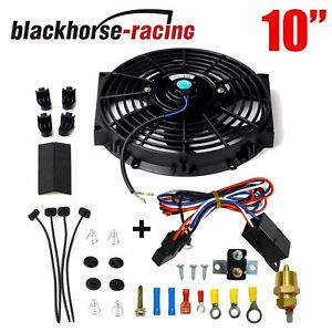 10 Bk Electric Radiator Cooling Fan Thermostat Relay Mounting Kit Black