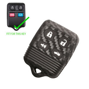 Carbon Fiber Silicone Remote Key Fob Cover Case For Ford Focus Mustang 4 Buttons