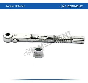 Dental Implant Torque Wrench Ratchet Universal 10 45 Ncm 6 35mm Ce Iso Free Ship
