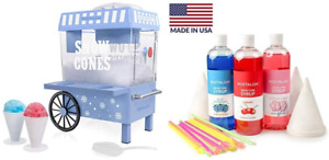 Nostalgia Vintage Snow Cone Maker Machine Ice Shaver Crusher W Syrup Party Kit