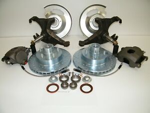 C10 5 Lug Front Disc Brake Conversion Kit Drop Spindles Drilled Slotted Rotors