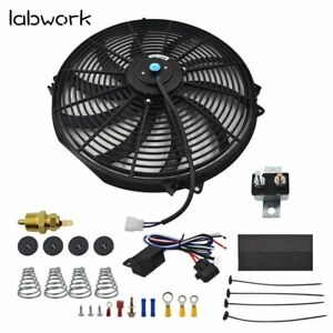 16 Electric Radiator Fan High 3000 Cfm Thermostat Wiring Switch Relay Kit 12v