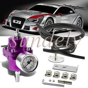 Universal Purple Adjustable Fuel Pressure Regulator 0 140 Psi Gauge Hose Kit
