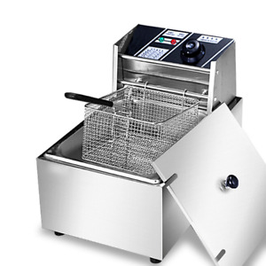New 2500w 6l Commercial Electric Deep Fryer Restaurant Stainless Steel 6 3qt