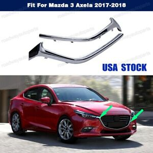 1pair Front Bumper Lower Grille Chrome Trim Molding For Mazda 3 Axela 2017 2018