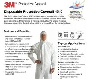 3m Protective Coverall Suit Safety Full 4510 W Hood Size 3xl 24 Pack