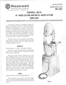 Rockwell Delta 28 380 14 Wood Metal Cutting Bandsaw Pm 1827 Instruction Manual