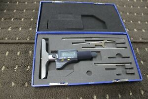 Fowler Ip54 Absolute Electronic Depth Micrometer 0 6 With Case And Rods