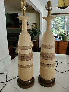 Pair Of Tall Mid Century Mcm Ceramic Table Lamps Striped Brown Tan Earthy Bottle