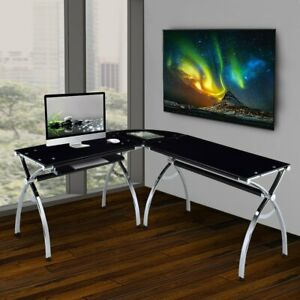 Techni Mobili L shaped Colored Tempered Glass Top Corner Desk With Pull Out Keyb