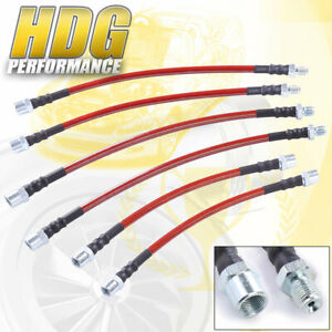 For 84 91 Bmw E30 Red Cable Stainless Steel Braided Oil Brake Line Hose Black